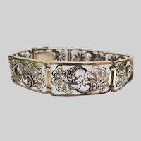 Fine 835 Silver Cannetille Marcasite Bracelet Signed WN Willi Nonnenmann