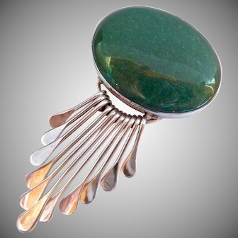 Sterling Silver 925 Aventurine Brooch or Pendant with Graduated Dangles