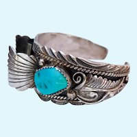 Sterling Silver 925 Turquoise Navajo Watch Band Bracelet Signed W Denet-Dale DenetDale
