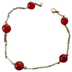 14K Gold Bracelet with Carnelian Beads