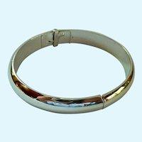 Whiting & Davis Silver Tone Hinged Clamper Bracelet