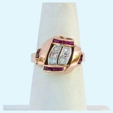 Exceptional 14K Rose Gold Platinum Diamond and Ruby Ring