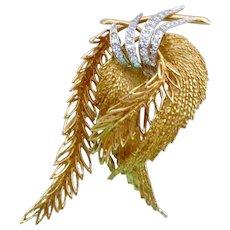 Stunning 18K Gold Diamond Brooch Leaf Fern Motif 16.0 Grams
