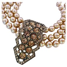 Dramatic Heidi Daus Necklace 3 Strand Simulated Champagne Pearls with Deco Design Centerpiece