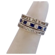 Set 3 Three 14K White Gold CZ and Gemstone Stacking Eternity Band Rings 6.9 Grams