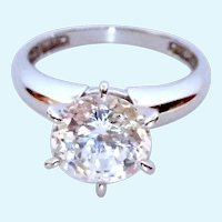 14K White Gold Large 8MM CZ Solitaire Ring