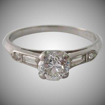 900 Platinum Diamond Engagement or Promise Ring Estimated TCW .4 Carats