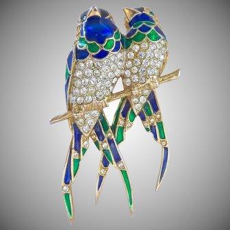 Blue Green Enamel and Rhinestone Two Bird Brooch