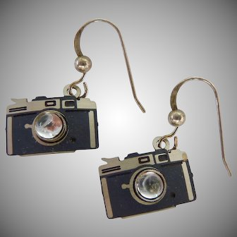 Sterling Wire Novelty Earrings with Dangling Camera