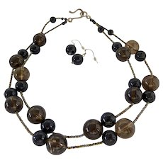 Sterling Silver 925 Smokey Quartz and Black Orb Necklace and Earrings Set