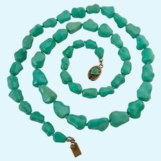 Hand Knotted Turquoise Colored Bead Necklace Cabochon Gilt Silver Clasp Probably Chinese