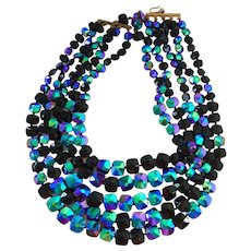 Five Strand Necklace Black and Iridescent Glass Peacock Beads Hand Knotted