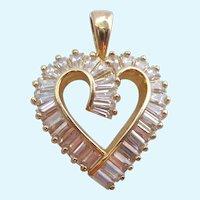 Glitzy Gilt Sterling Silver 925 CZ Heart Pendant