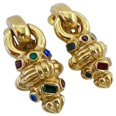 Agatha Paris Gold Tone Rhinestone Clip Earrings Doorknocker Style