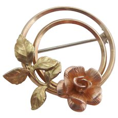 Small 14K Gold Two Tone Krementz Double Circle Pin with Flower and Leaves