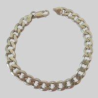 Sterling Silver 925 Substantial Curb Link Bracelet Italy Milor