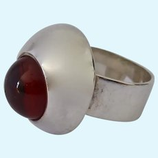 Sterling Silver 925 Amber Ring Modernist Design