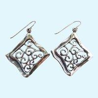 Sterling Silver 925 Open Work Dangle Earrings Israel Signed Didae