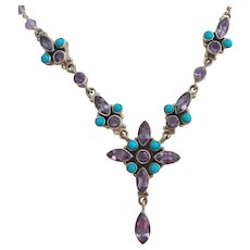 Sterling Silver 925 Amethyst and Turquoise Colored Necklace Signed