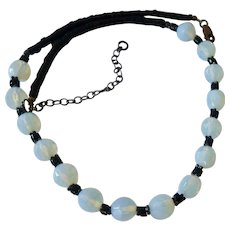 Faceted Opalescent Glass and Black Bead Necklace Sterling Silver 925 Clasp
