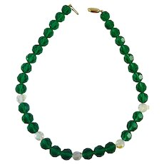Swarovski Emerald Green & Clear Crystal Necklace Signed SAL