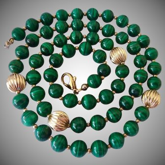 Malachite Bead Necklace with Fluted Accent Beads