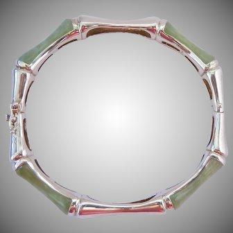 Chinese Export Sterling Silver 925 Jade Hinged Bangle Bracelet Bamboo Design