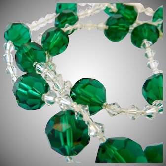 Long Emerald Green and Clear Crystal Necklace