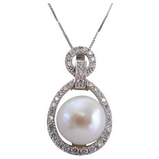 Sterling Silver 925 Cultured Pearl and CZ Necklace