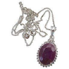 Sterling Silver 925 Ruby and Clear Gem Pendant Necklace