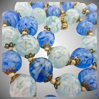 Blue Art Glass Bead Necklace Hand Knotted Two Tone