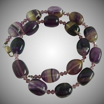 Chunky Banded Amethyst Gemstone Necklace with Sterling Silver 925 Clasp