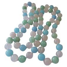 Pastel Gemstone 10MM Bead Necklace Hand Knotted Rose Quartz Aventurine