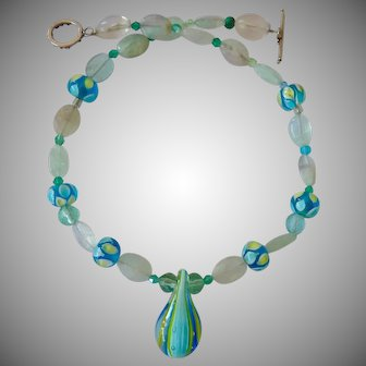 Art Glass and Gemstone Necklace with Sterling Toggle Clasp