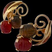 12K Gold Filled Gemstone Scarab Earrings Carnelian Tiger Eye Screw Back