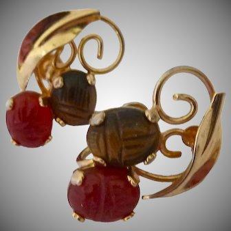 12K Gold Filled Gemstone Scarab Earrings Carnelian Tiger Eye Screw Back Signed