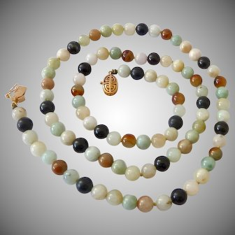Multi-Color Jade Bead Necklace