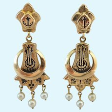 14K Gold Victorian Taille D'Epargne Pearl Dangle Earrings Signed