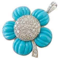 Sterling Silver 925 Turquoise Colored and CZ Flower Pendant