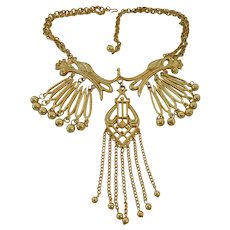 Outrageous Runway-Worthy Gold Tone Dangle Necklace