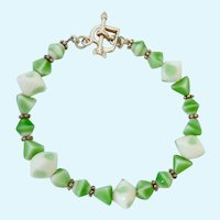 Green Art Glass Bead Bracelet 925 Toggle Clasp