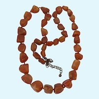Carnelian Nugget Chunk Necklace Hand Knotted