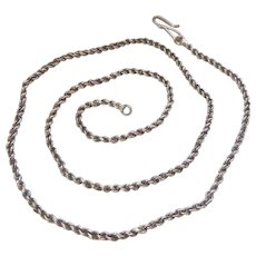 Sterling Silver 925 Rope Chain Necklace with S-Clasp