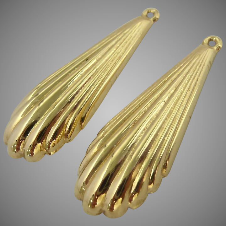 14k Gold Earring Jackets Elongated Scalloped