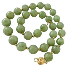 14K Gold and Green Gemstone Bead Choker Necklace