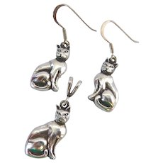 Sterling Silver 925 Cat Dangle Earrings and Pendant Necklace