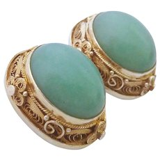 Gilt Silver Filigree Green Gemstone Clip Earrings Probably Chinese Export