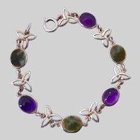 Sterling Silver 925 Celtic Bracelet Amethysts Green Gemstones