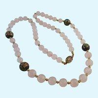 Rose Quartz and Cloisonné Bead Necklace Gilt Sterling 925 Clasp