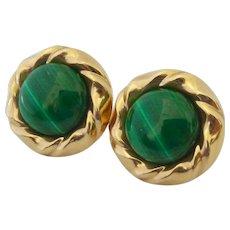 14K Gold Malachite Earrings Signed PBD Peter Brams Designs